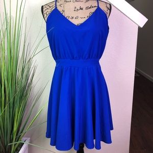 lucy love blue dress with open back